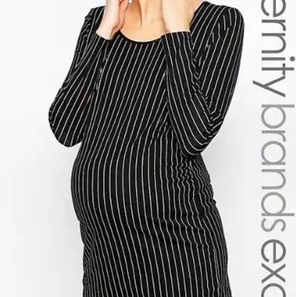 Mamalicious pinstripe bodycon maternity dress